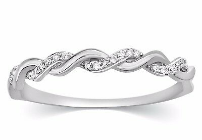 Infinity Wedding Band.10k White Gold Round Genuine Diamond Infinity Wedding Band Womens Ring New