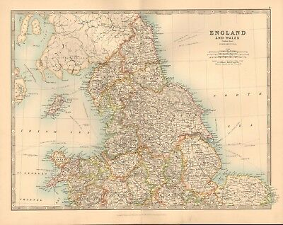 1891 Antique Map - England And Wales, North, Anglesey, The Wash, Carlisle, Berwi