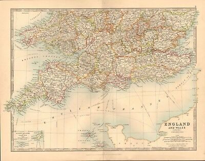 1891 Antique Map - England And Wales, South, Pembroke,Cornwall,Devon,Kent