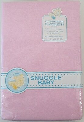 2 Pack Cot Bed Sheets Soft Pink Flannelette Snuggle Baby Girl 180 x 140 Cotton
