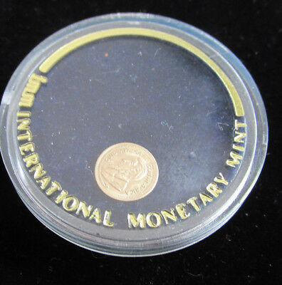 1980 14Kt Gold Miniature Krugerrand Coin 9 mm DIa With Capsule , no papers