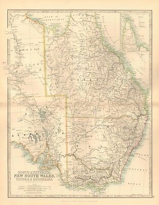 1891 Antique Map - South Australia, New South Wales,victoria And Queensland