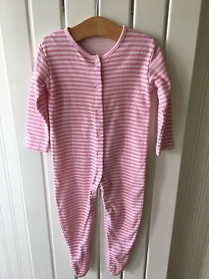 Baby Girl's Clothes 9-12mths- Pink Candy Striped Babygro/Sleepsuit