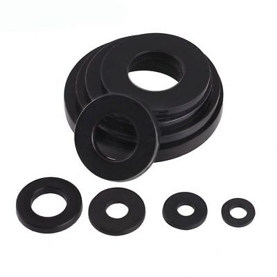 M2-M20 Black Plastic Nylon Flat Washers Pad Gasket Fit Metric Bolts/Screws