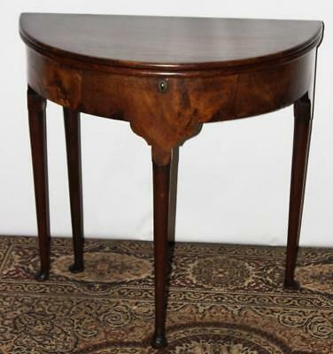 Antique English Walnut & Oak Demi Lune Console Card Table -FREE Shipping [P3739]