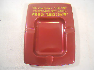 WISCONSIN TELEPHONE COMPANY Tin Advertising Ashtray ~ Make Safety Family Affair