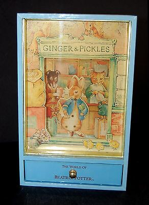 RARE Schmid BEATRIX POTTER Ginger and Pickles Music Box- Dancing Peter Rabbit