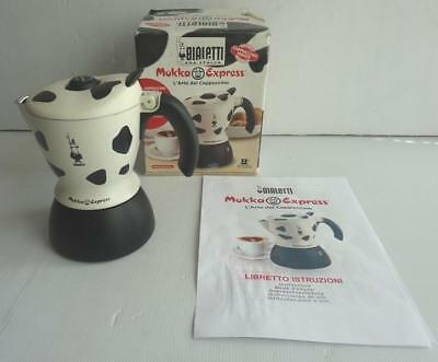 Bialetti Mukka Express 2 Cup Stove Top Italian Cappuccino Maker,cow Print, Boxed