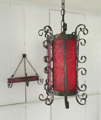 Vintage Hanging Light & Wall Candle Lamp Wrought Iron Gothic Spanish Revival