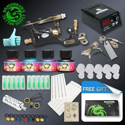 Complete Tattoo Kit 1 Professional Rotary Tattoo Machine Gun 4  Inks  Needles