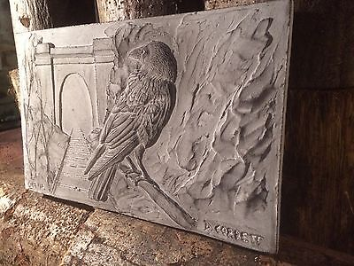 Crow wall relief sculpture, cast stone wall ornament, garden bird art ornament