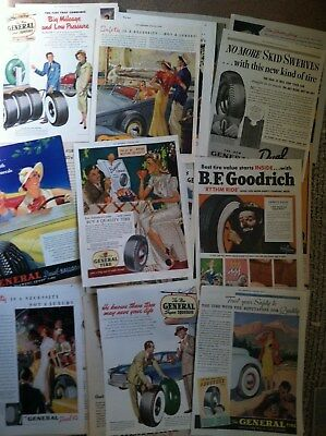 """26 GENERAL TIRES 10x14"""" size LARGE COLOR MAGAZINE ADS 1940s 50s MANY 2 PAGE"""