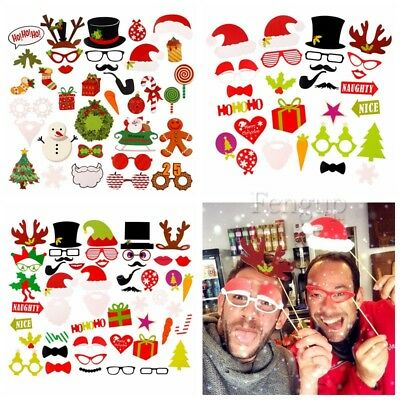 2018 New Years Eve Party Christmas Photo Booth Props Mustache Stick Selfie Decor