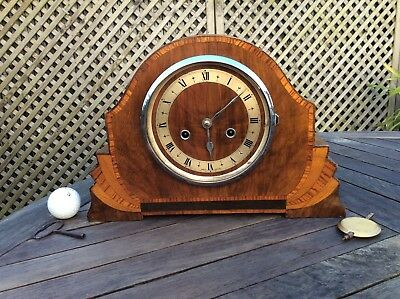 Art Deco SMITHS ENFIELD MANTLE CLOCK working c1930 chimes half & hour