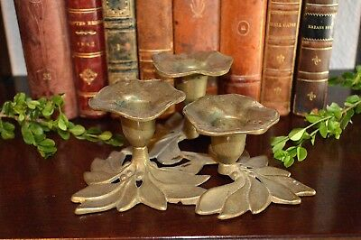 Antique French Brass Floral 3 Tier Candle Holder Candlestick