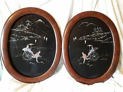 A Pair of Meiji Period Shibayama Papier Mache Panels, Mother of Pearl Inlay.