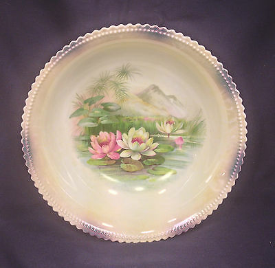 """Antique Porcelain PK Silesia 9-1/8"""" Serving Bowl Water Lilies on Pond Germany"""