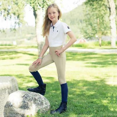 Children's pull on riding tights Leather-like knee patch Low-mid rise waist TAN