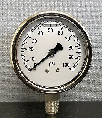 """2-1/2"""" Full Stainless Steel 0-100psi  Pressure Gauge, 1/4 NPT, For Air only"""