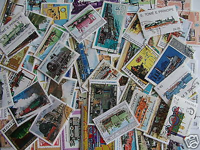 Timbres Trains A Vapeur : 100 Timbres Tous Differents / Steam Trains Stamps
