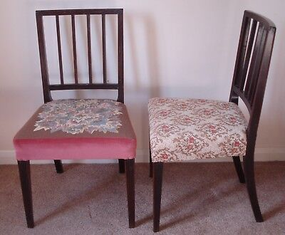Pair Of Edwardian Chairs - Tapestry Seats - Somerset Ta20 3Rs