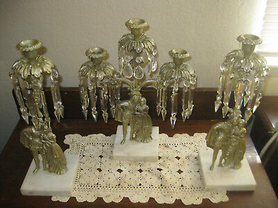 3 Piece Set Antique Gilded French Classical Hanging Crystals Figural Girandole