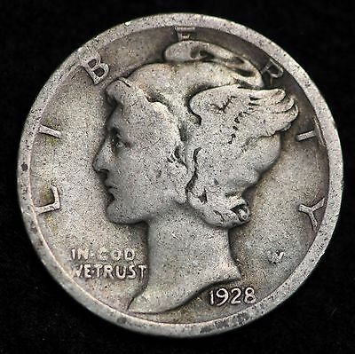 1928-D Mercury Dime / Circulated Grade Good / Very Good 90% Silver Coin