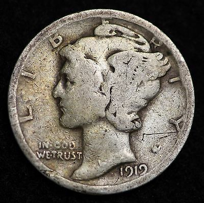 1919-S Mercury Dime / Circulated Grade Good / Very Good 90% Silver Coin