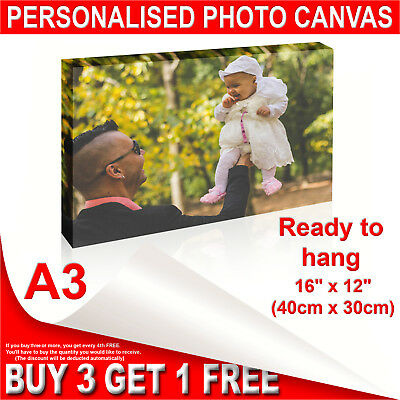 "Personalised A3 Framed Photo Canvas Print -Custom 16""x12"" Printing READY TO HANG"
