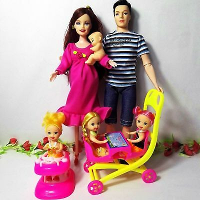 Happy Family Barbie Dolls with Mom Dad Kids Set Doll Walker Table Toy Girls Toys