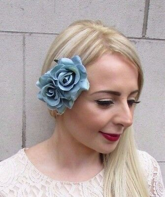 Double Teal Blue Rose Flower Hair Clip Rockabilly Fascinator Bridesmaid 3864