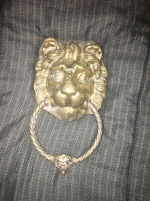 Heavy Vintage Brass Lion Head Door Knocker