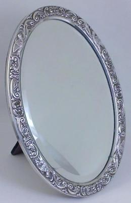 Vintage hallmarked Sterling Silver-fronted  24cm Dressing Table Mirror – 1988