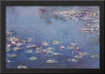 Waterlillies 40x28 Extra Large Black Wood Framed Art Print by Claude Monet