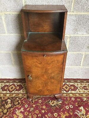Burr Walnut 1950S Bedside Cabinet With Pull Out Shelf/ Glass Top & Cabriole Legs