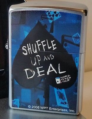Zippo Lighter Shuffle Up and Deal Blue  Chrome 2006 NEW IN BOX Vintage RARE