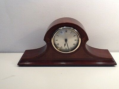 Edwardian 1920's Mahogony Inlay Mantel Clock, Napoleon Hat shape,Silvered dial