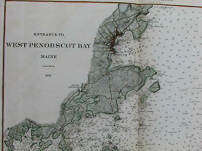 West Penobscot Bay Maine Rockland 1879 USCGS nautical coast chart scarce old map