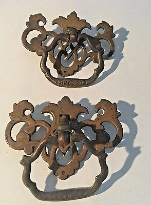 2 Vintage  Pinneapple Brass Drawer Pulls 3 X 2 (K109)