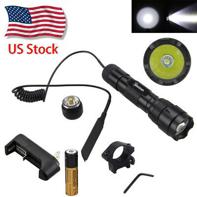 Rechargeable 5000Lm T6 LED Tactical Hunting Flashlight Mount Torch Gun lamp