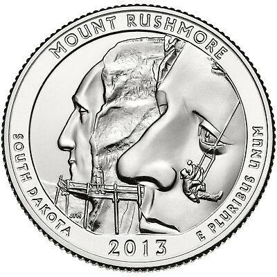 "2013 Mount Rushmore, Sd ""atb"" National Park Quarter P/d/s 3-Coin Set Brilliant"