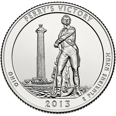 """2013 Perry's Victory, Ohio """"atb"""" National Park Quarter P/d Mint 1-Coin Bu Free S"""