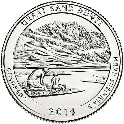 """2014 GREAT SAND DUNES, CO """"ATB"""" NATIONAL PARK QUARTER P or D MINT 1-COIN FREE SH"""