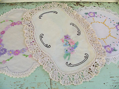 Vintage Hand Embroidered Doilies Shabby Belle Brocante linen