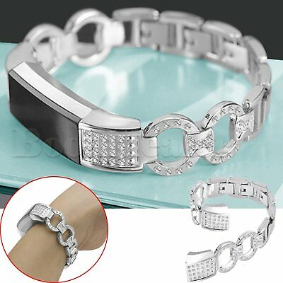 Crystal Stainless Steel Bracelet Watch Strap Wristband for Fitbit Alta HR Watch