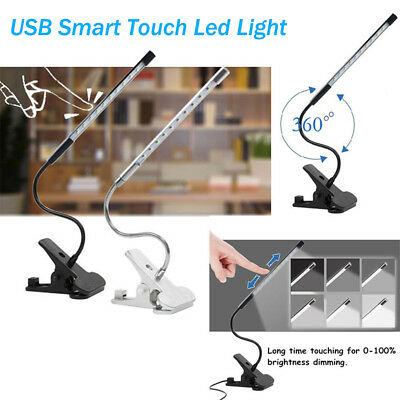 Adjustable USB Reading LED Touch Dimmable Flexible Clip-on Table Desk Lamp Light