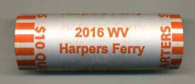 """2016 HARPERS FERRY, WV """"ATB"""" NATIONAL PARK QUARTER BANK WRAP ROLL P or D"""