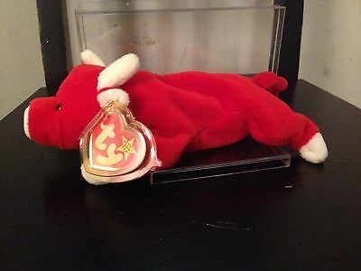 Ty Beanie Babies ~ Snort the Bull ~ Mint Tags 1995 ~ Retired TAG ERROR NEW!