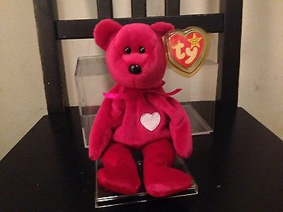 Rare Ty Valentina Beanie baby with 4 tag errors BRAND NEW with display case