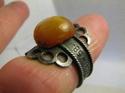 Author's Work ! Excellent Old Vintage Sterling Silver  Ring - Baltic Amber #6367